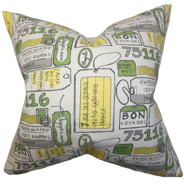 Reginy Typography Yellow Feather Filled 18-inch Throw Pillow