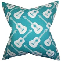 Roxie Geometric Turquoise Feather Filled 18-inch Throw Pillow