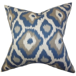 Becan Ikat Blue Feather Filled 18-inch Throw Pillow