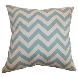 Xayabury Zigzag Aqua Natural Feather Filled 18-inch Throw Pillow