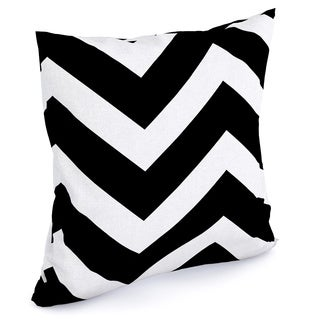 Eir Zigzag Black White Feather Filled 18-inch Throw Pillow
