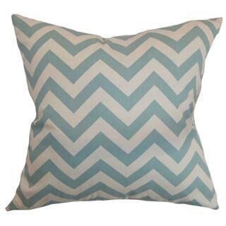 Xayabury Zigzag Village Blue Natural Feather Filled 18-inch Throw Pillow