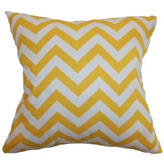 Xayabury Zigzag Yellow White Slub Feather Filled 18-inch Throw Pillow