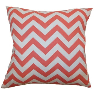 Xayabury Zigzag Coral White Feather Filled 18-inch Throw Pillow