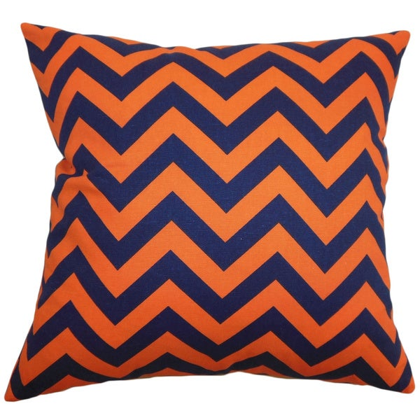 Xayabury Zigzag Orange Navy Feather Filled 18-inch Throw Pillow