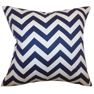 Xayabury Zigzag Blue Feather Filled 18-inch Throw Pillow