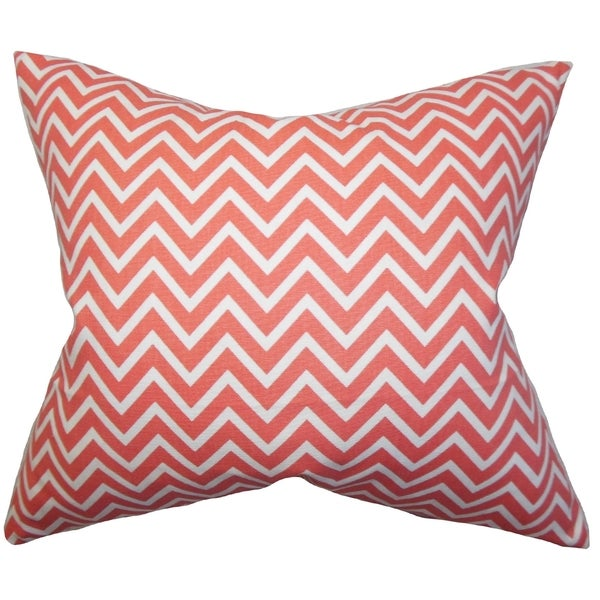 Xayabury Zigzag Coral Pink Feather Filled 18-inch Throw Pillow