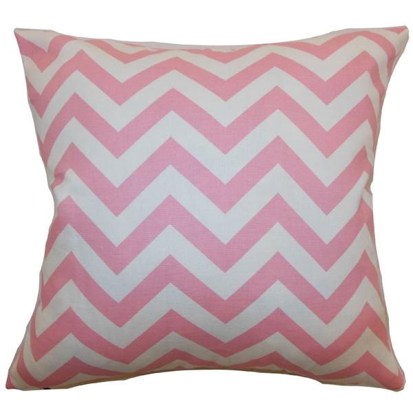Xayabury Zigzag Baby Pink Feather Filled 18-inch Throw Pillow