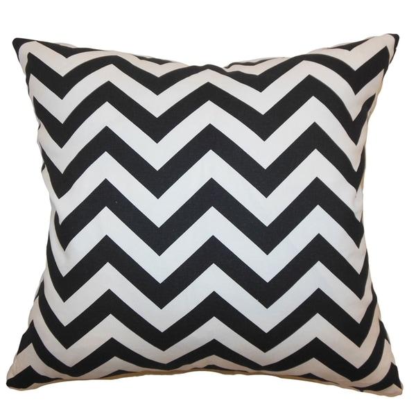 Xayabury Zigzag Black Feather Filled 18-inch Throw Pillow