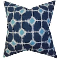Kyd Geometric Blue Feather Filled 18-inch Throw Pillow
