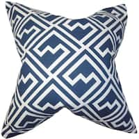 Ragnhild Geometric Blue Feather Filled 18-inch Throw Pillow
