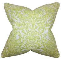 Daija Floral Green Feather Filled 18-inch Throw Pillow