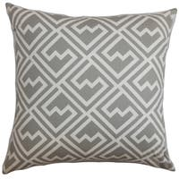 Ragnhild Geometric Gray Feather Filled 18-inch Throw Pillow