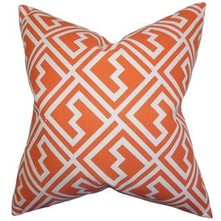 Ragnhild Geometric Tangerine Feather Filled 18-inch Throw Pillow
