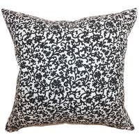 Vappi Floral Black White Feather Filled 18-inch Throw Pillow