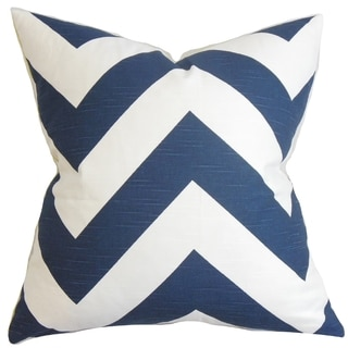 Eir Zigzag Blue Feather Filled 18-inch Throw Pillow