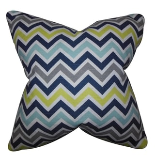 Howel Zigzag Blue Feather Filled 18-inch Reversible Throw Pillow