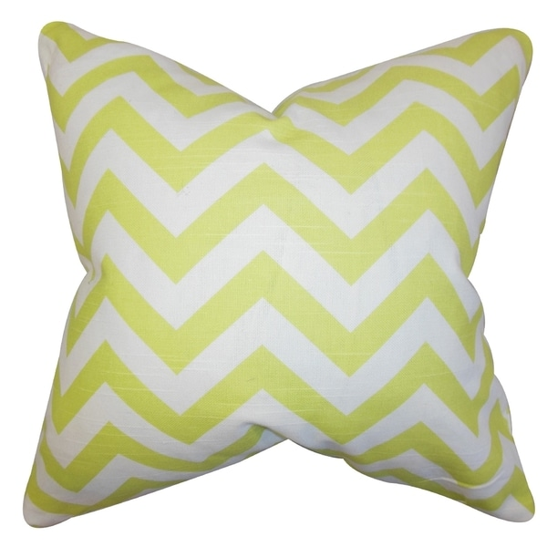 Gaines Chevron Green Feather Filled 18-inch Throw Pillow