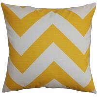 Eir Zigzag Yellow Slub Feather Filled 18-inch Throw Pillow