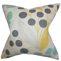 Geneen Floral Sunshine Feather Filled 18-inch Throw Pillow