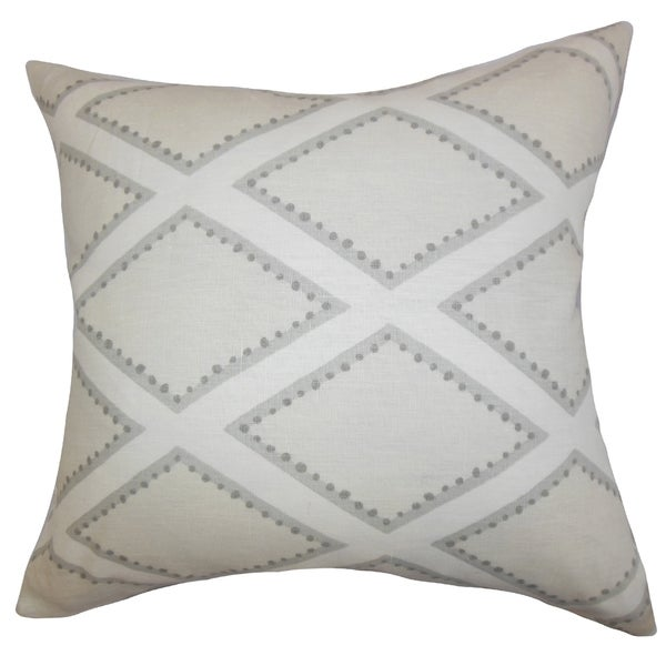 Alaric Geometric Gray Feather Filled 18-inch Throw Pillow