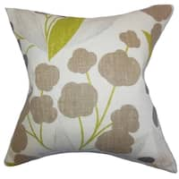 Geneen Floral Olive Feather Filled 18-inch Throw Pillow