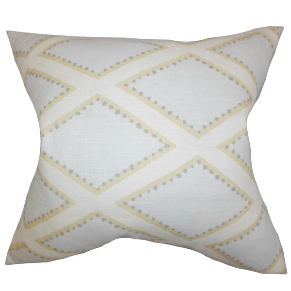 Alaric Geometric Blue Feather Filled 18-inch Throw Pillow