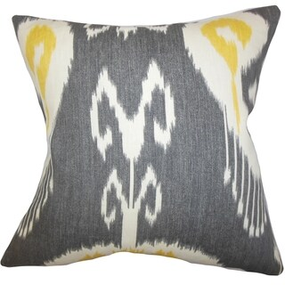 Cleon Ikat Gray Feather Filled 18-inch Reversible Throw Pillow