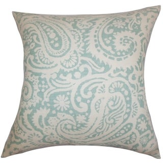 Nellary Paisley Aqua Feather Filled 18-inch Throw Pillow