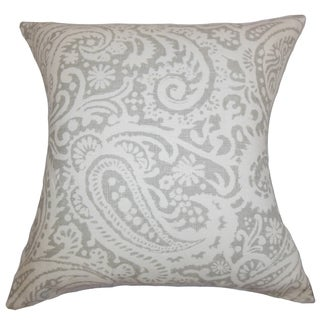 Nellary Paisley Silver Feather Filled 18-inch Throw Pillow