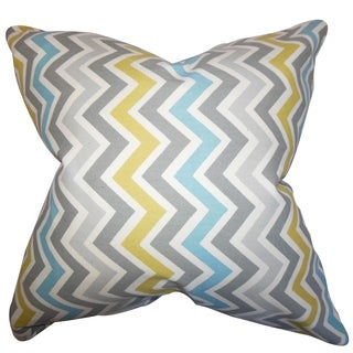 Howel Zigzag Gray Blue Feather Filled 18-inch Throw Pillow