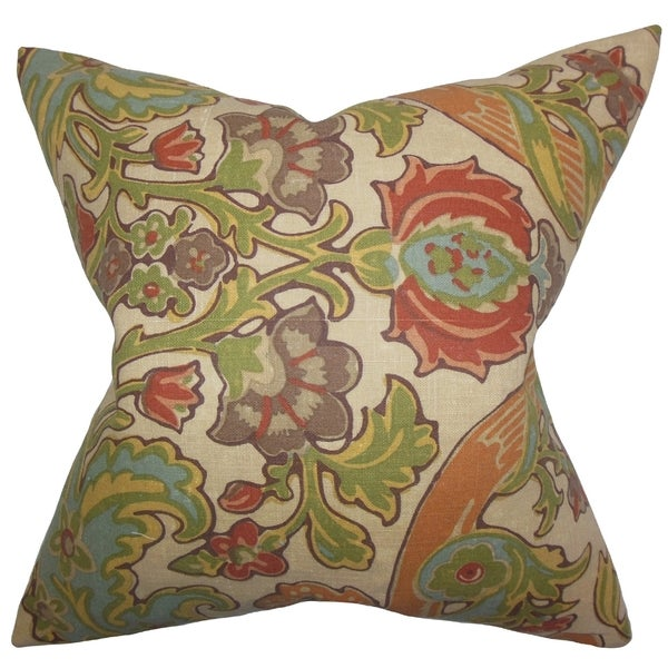 Kiriah Floral Vintage Feather Filled 18-inch Throw Pillow