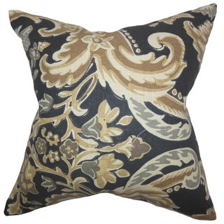 Kiriah Floral Mahogany Feather Filled 18-inch Throw Pillow