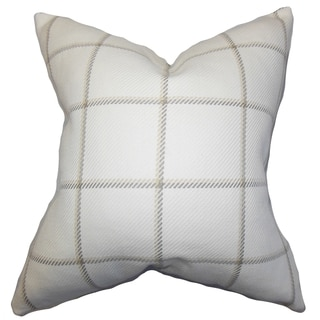Wilmie Plaid White Feather Filled 18-inch Throw Pillow