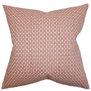 Orit Geometric Red Feather Filled 18-inch Throw Pillow