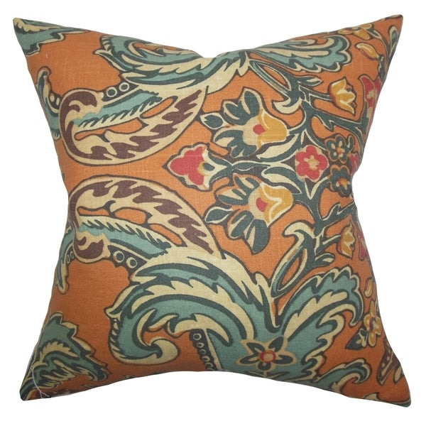 Kiriah Floral Cinnamon Feather Filled 18-inch Throw Pillow