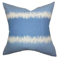 Juba Geometric Blue Feather Filled 18-inch Throw Pillow