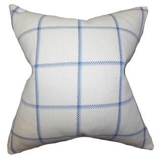 Wilmie Plaid Blue Feather Filled 18-inch Throw Pillow