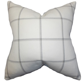 Wilmie Plaid Gray White Feather Filled 18-inch Throw Pillow