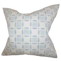 Jeune Geometric Blue Feather Filled 18-inch Throw Pillow