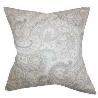 Iphigenia Floral Gray Feather Filled 18-inch Reversible Throw Pillow
