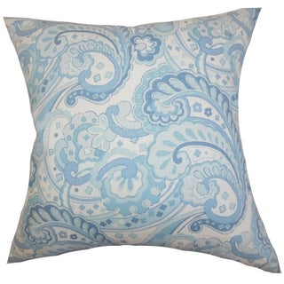 Iphigenia Floral Blue Feather Filled 18-inch Throw Pillow