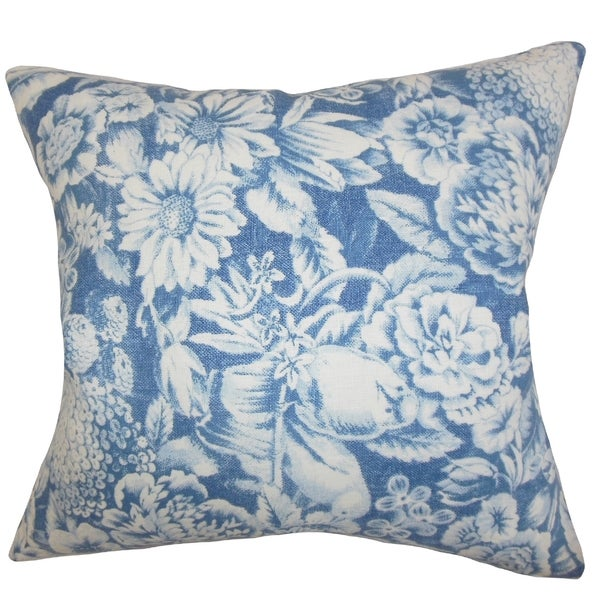 Elspeth Floral Blue Feather Filled 18-inch Throw Pillow
