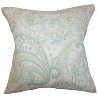 Iphigenia Floral Green Feather Filled 18-inch Throw Pillow