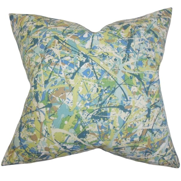 Geneen Geometric Green Feather Filled 18-inch Throw Pillow