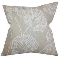 Fia Floral Natural Feather Filled 18-inch Throw Pillow
