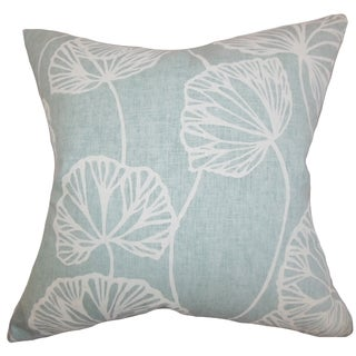Fia Floral Blue Feather Filled 18-inch Throw Pillow