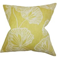 Fia Floral Yellow Feather Filled 18-inch Throw Pillow
