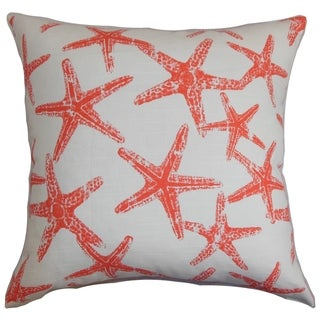 Ilene Coastal Red Feather Filled 18-inch Throw Pillow