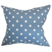 Nancy Polka Dots Baby Blue White Feather Filled Throw Pillow